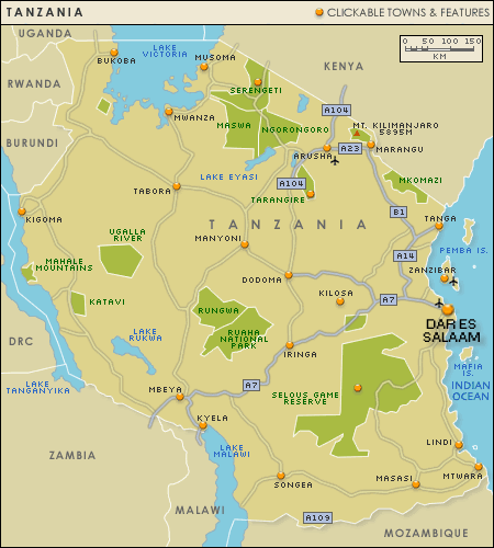 tanzania map Tanzania Metro Map