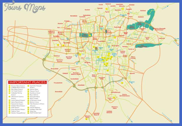 tehranimportantplaces m 01 Tehran Subway Map