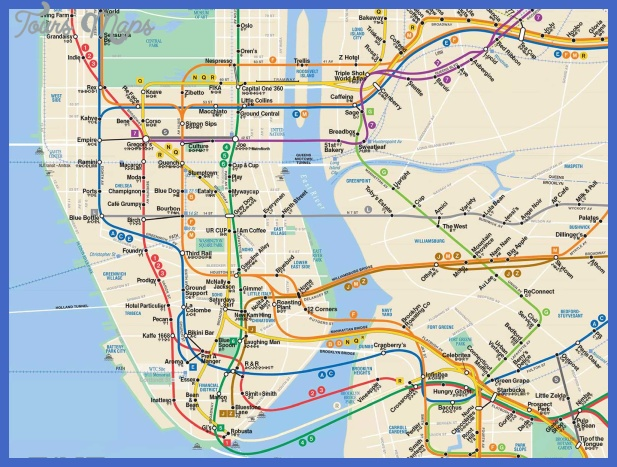 the best coffee shop near every new york city subway stop map 1 New York Metro Subway Map