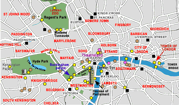 Printable Tourist Map Of London.London Map Tourist Attractions Toursmaps Com