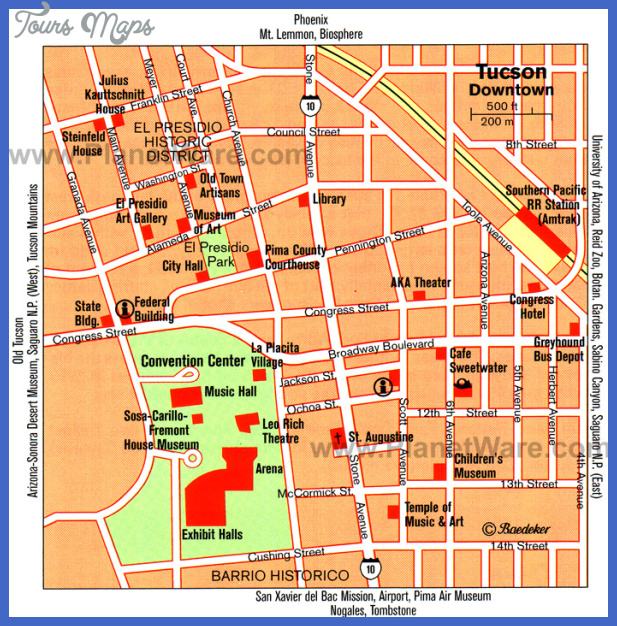 tucson map tourist attractions  0 Tucson Map Tourist Attractions