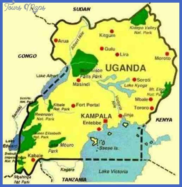 Uganda Map Tourist Attractions ToursMapscom