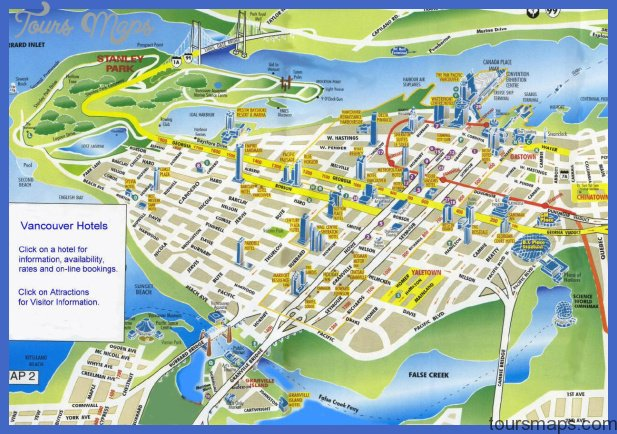 Vancouver Map Tourist Attractions ToursMapscom