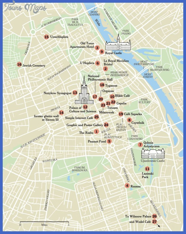 warsaw tourist map 3 Warsaw Map Tourist Attractions
