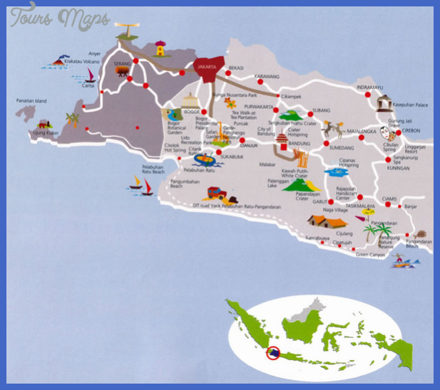 west java indonesia tourist map mediumthumb Indonesia Map Tourist Attractions