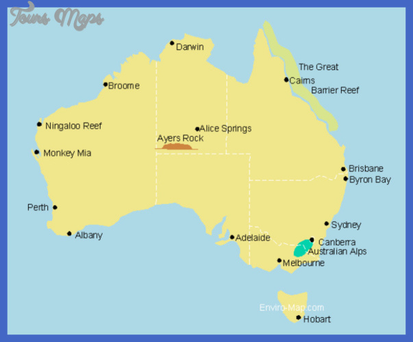 Australia Map Tourist Attractions ToursMapscom