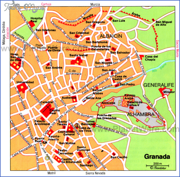 granada map Spain Map Tourist Attractions