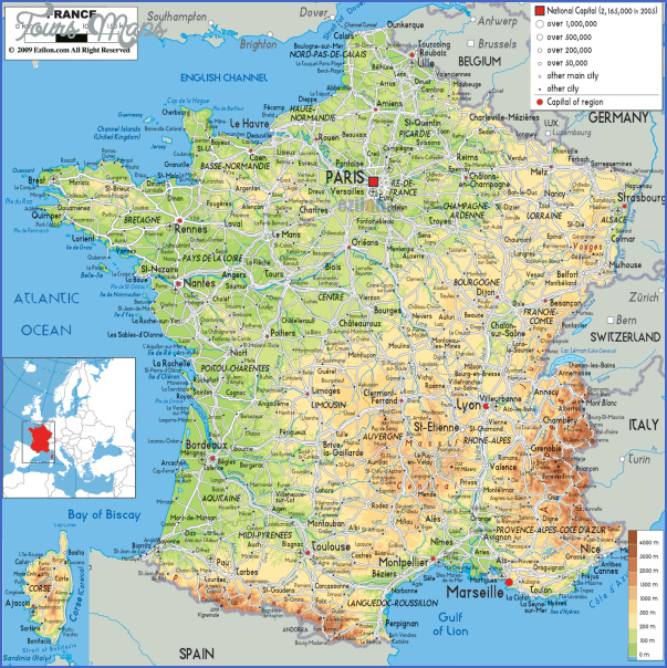 large detailed physical map of france with all roads cities and airports for free France Map