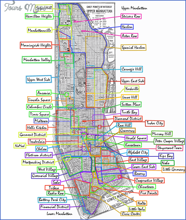 New York neighborhoods map manhattan - ToursMaps.com ®