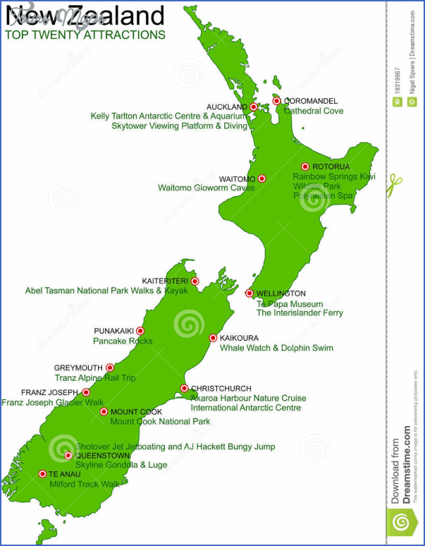 new zealand green vector map top 20 attractions 18319967 New Zealand Map Tourist Attractions