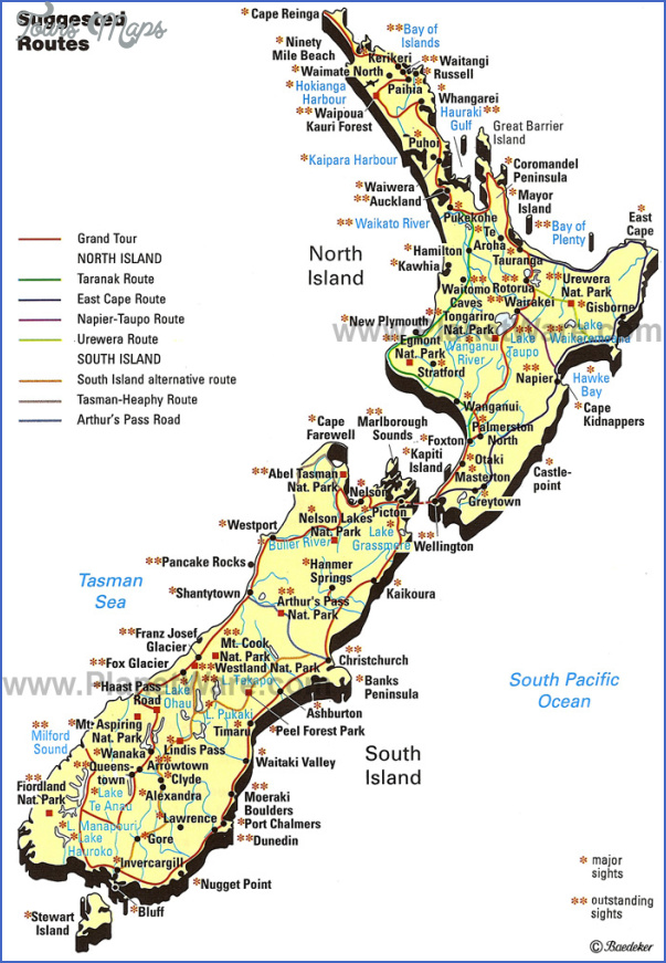 new zealand map 2 New Zealand Map Tourist Attractions