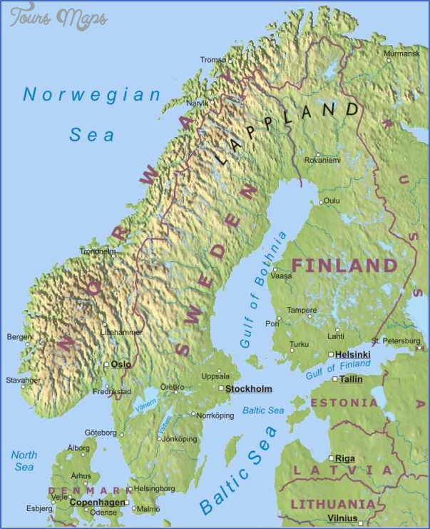 SCANDINAVIA Map Travel Holiday Vacations - Sweden map physical