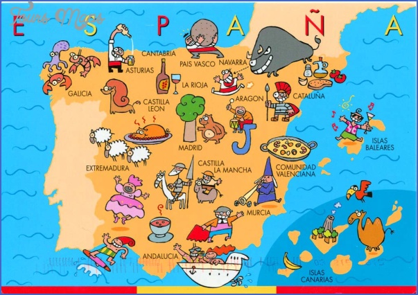 spain map ecard showing touristic places Spain Map Tourist Attractions