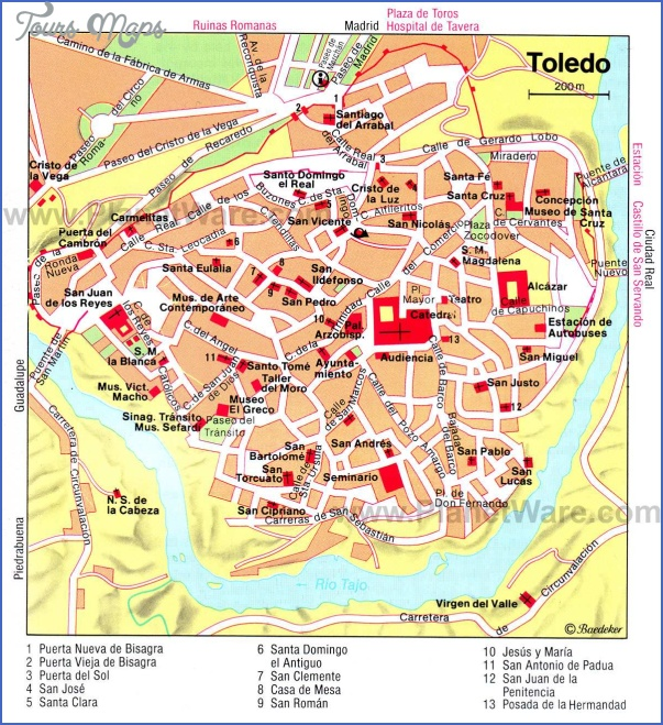 toledo map 0 Spain Map Tourist Attractions