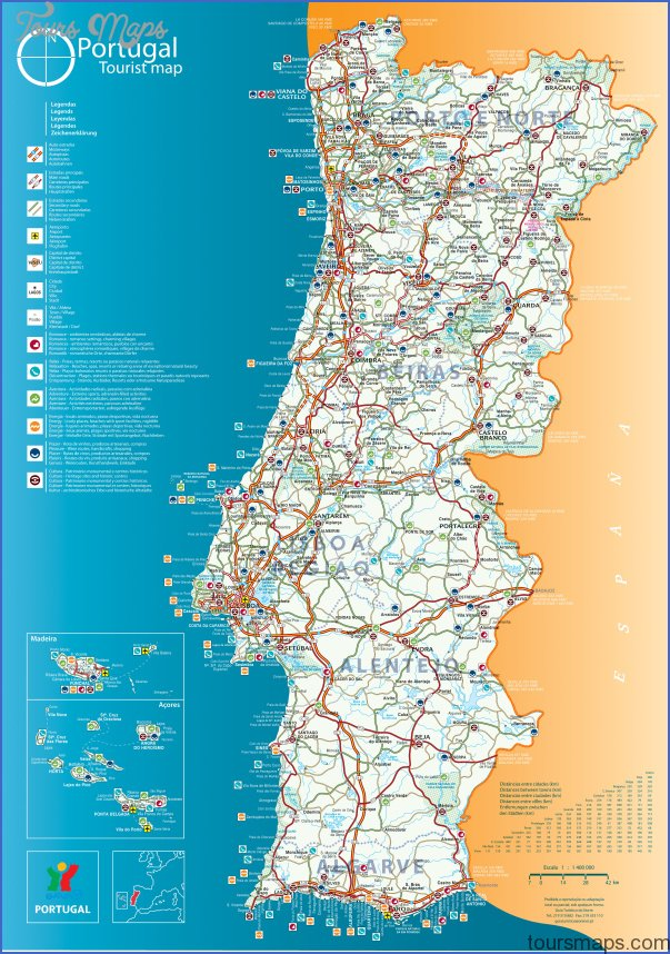 tourist map of portugal Portugal Map