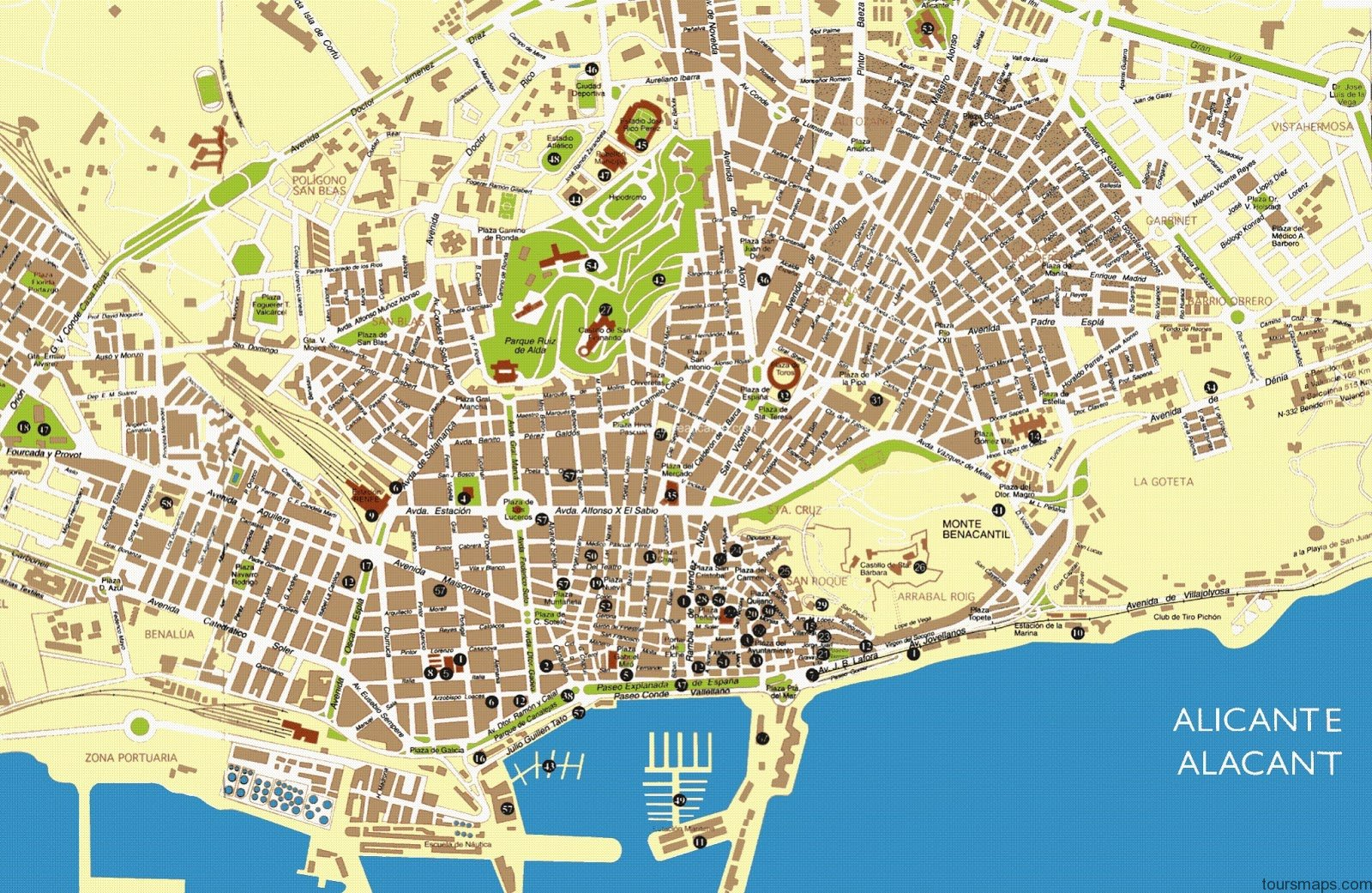 ALICANTE MAP ToursMapscom