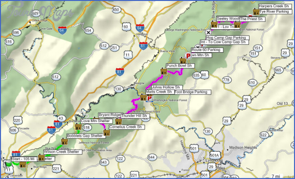 APPALACHIAN TRAIL MAP VIRGINIA - ToursMaps.com ®
