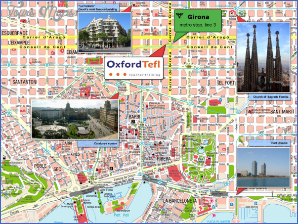barcelona map tourist attractions 1 Barcelona Map Tourist Attractions