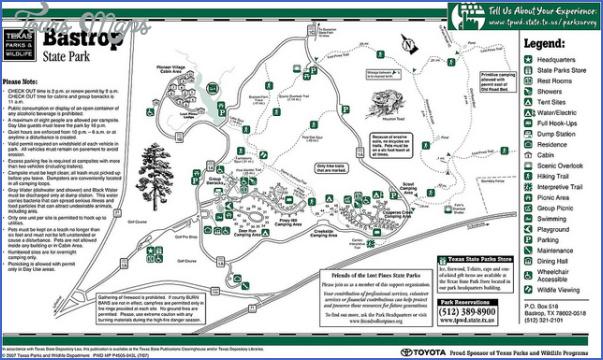 Bastrop State Park Map BASTROP STATE PARK MAP TEXAS   ToursMaps.®