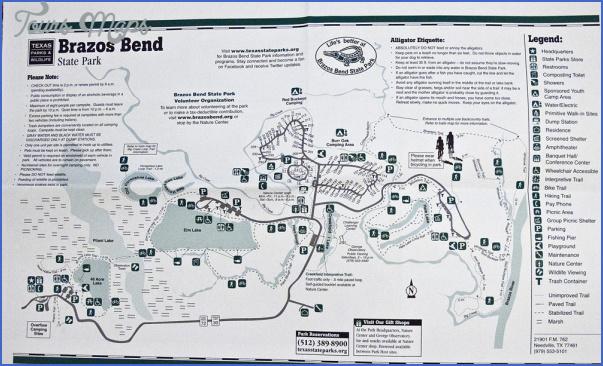 Brazos Bend State Park Map BRAZOS BEND STATE PARK MAP TEXAS   ToursMaps.®