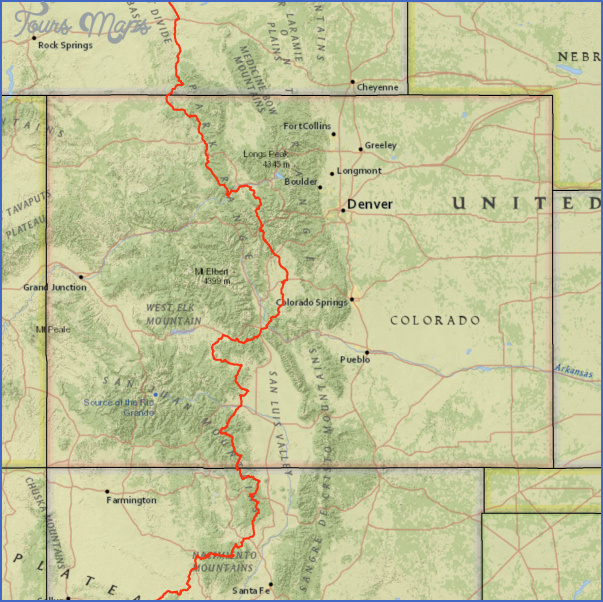 Continental Divide Colorado Map CONTINENTAL DIVIDE TRAIL COLORADO   ToursMaps.® Continental Divide Colorado Map