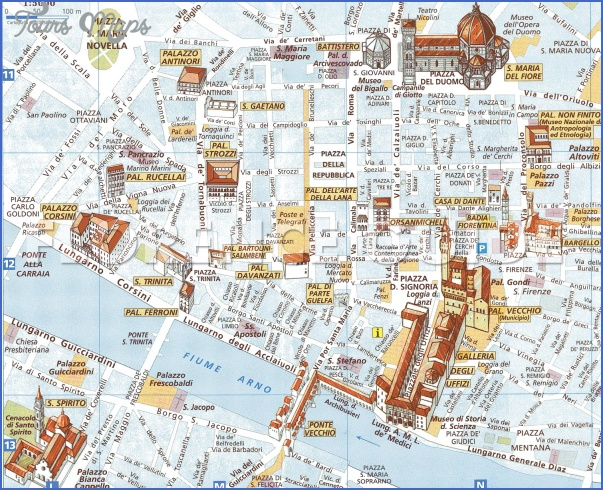 Florence Map Tourist Attractions ToursMapsCom – Florence Tourist Attractions Map