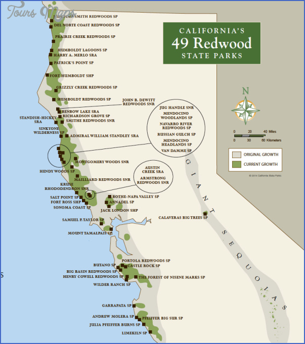 HUMBOLDT REDWOODS STATE PARK MAP CALIFORNIA - ToursMaps.com ® on