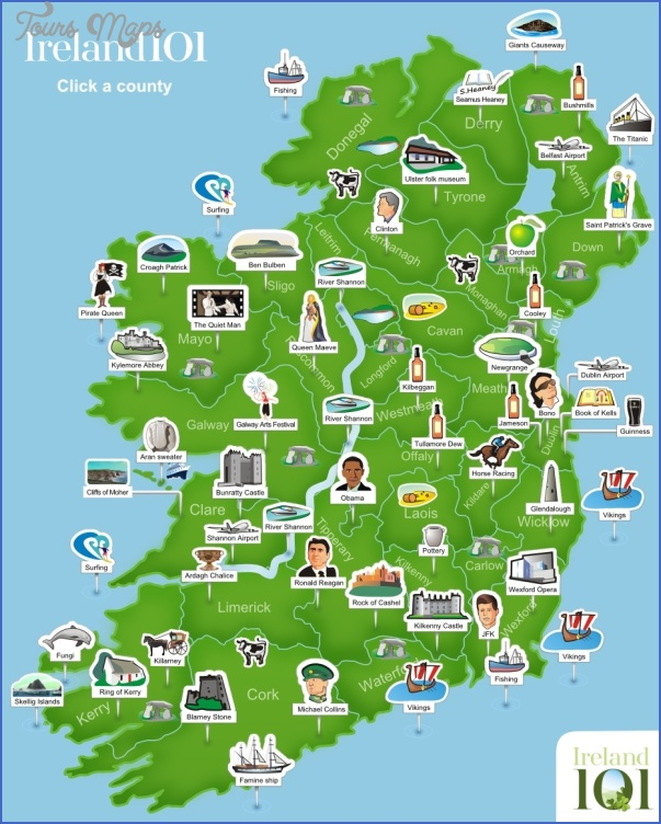 ireland map tourist attractions 1 Ireland Map Tourist Attractions