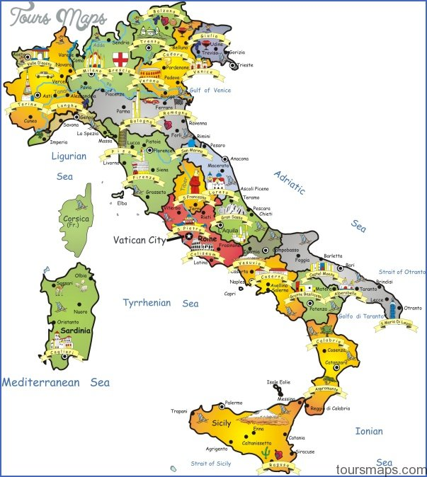 Italy Map Tourist Attractions ToursMapscom