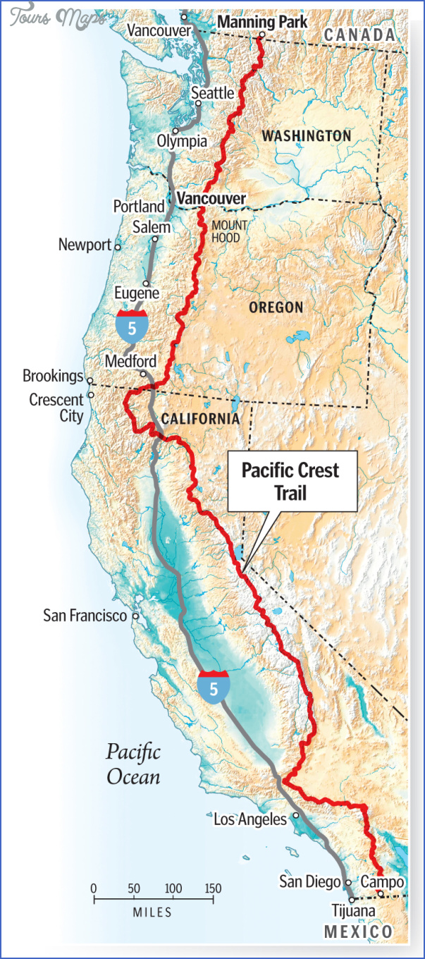 PACIFIC CREST TRAIL MAP CALIFORNIA  Map  Travel  Holiday