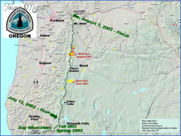 PACIFIC CREST TRAIL MAP OREGON - ToursMaps.com ®