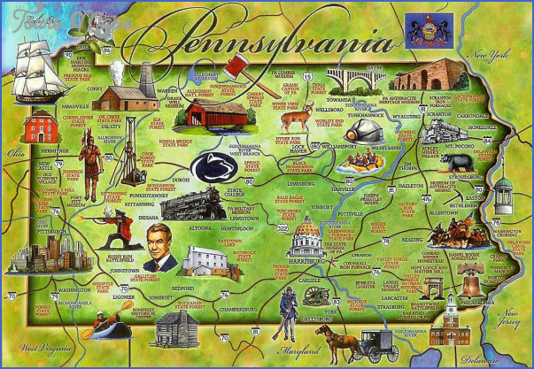 Pennsylvania Map Tourist Attractions ToursMapsCom – Tourist Attractions Map In Pa