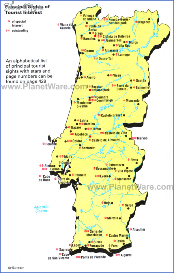 Portugal Map Tourist Attractions Map Travel Holiday Vacations - Portugal map