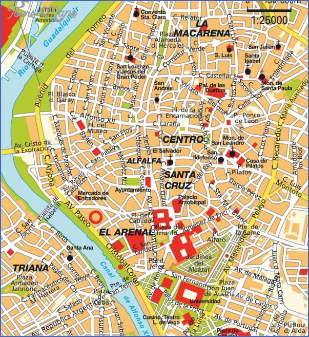 Seville Map Tourist Attractions ToursMapscom