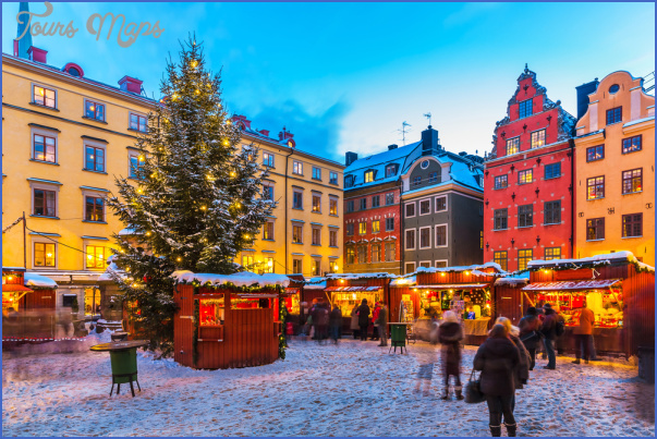 beautiful snowy winter scenery of christmas holiday fair at the big square stortorget in the old town gamla stan in stockholm sweden Sweden Travel Destinations