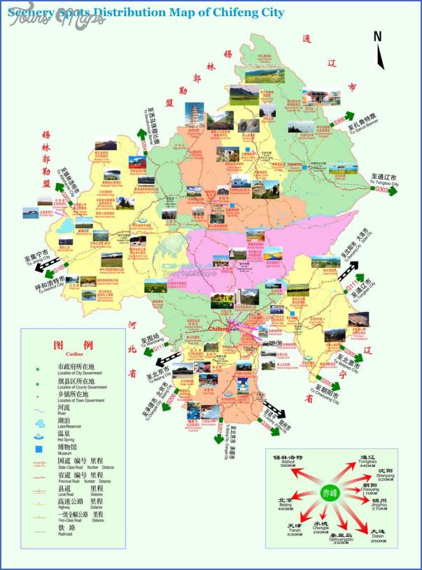 chifeng tourist map China travel guide map