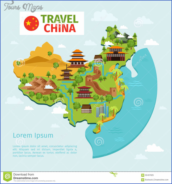 china travel vector map traditional chinese landmarks culture east asian country tourism illustration 65407825 Chinese travel map