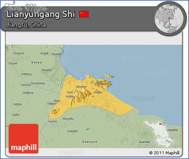 free fancy savanna style 3d map of lianyungang shi Lianyungang Map