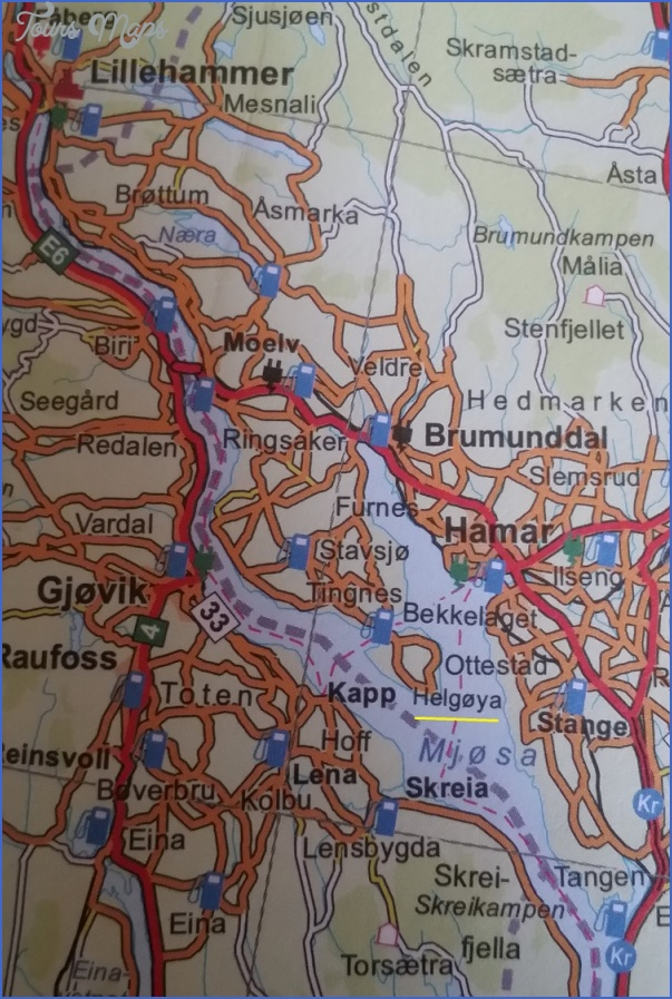 Lake Mjosa Norway Map Map Travel Holiday Vacations - Norway map hamar