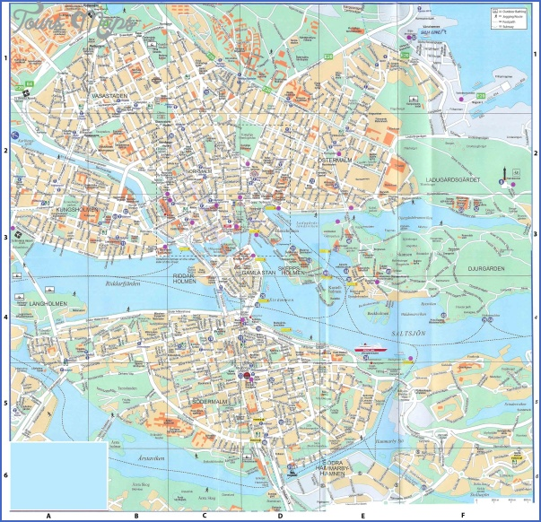 large detailed road map of stockholm city center with buildings Stockholm Map