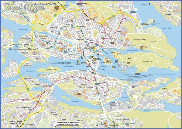 large detailed roads map of stockholm city Stockholm Map