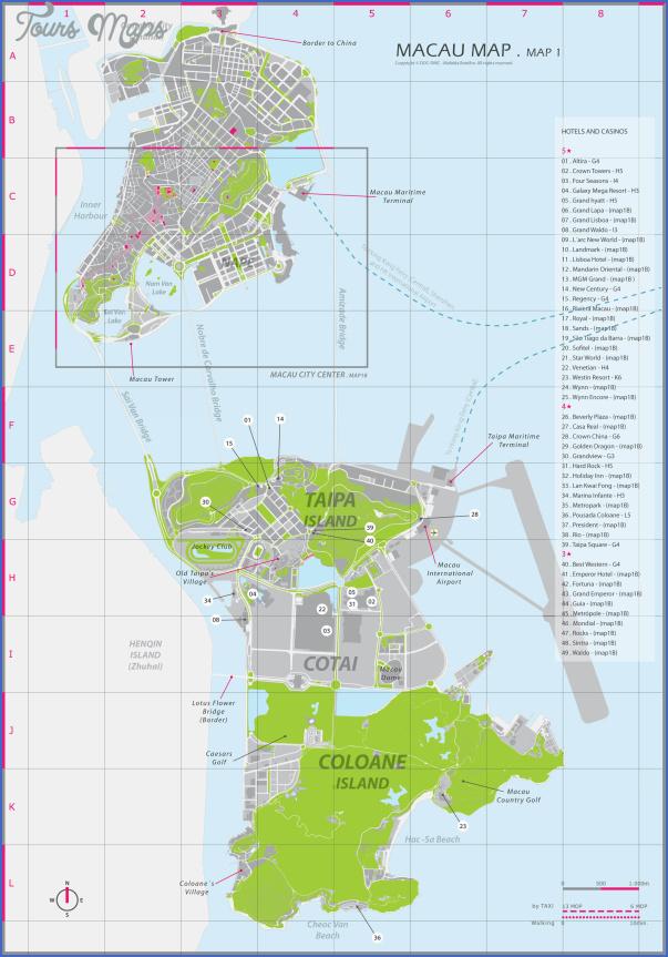 taipa and coloane map 22 Taipa and Coloane Map