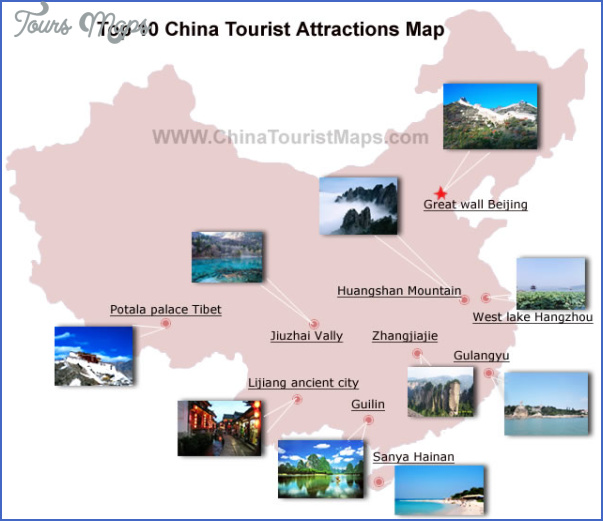 top10 tourist attractions map China tourist sites map