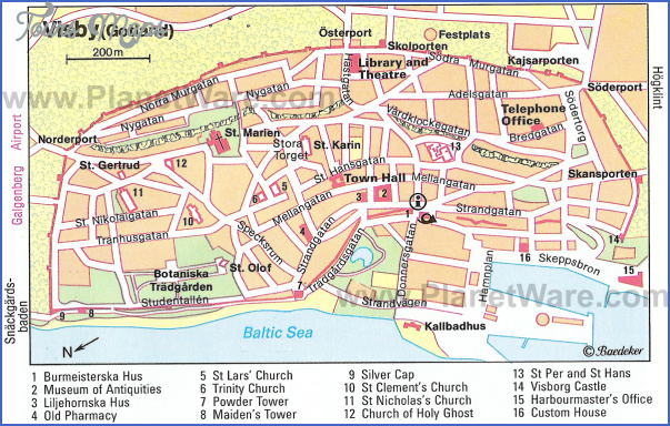visby gotland map Sweden Map Tourist Attractions