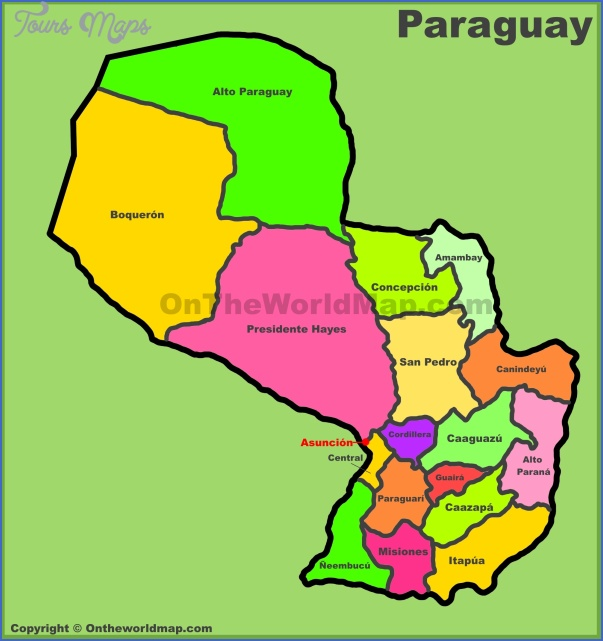 administrative divisions map of paraguay Paraguay Map