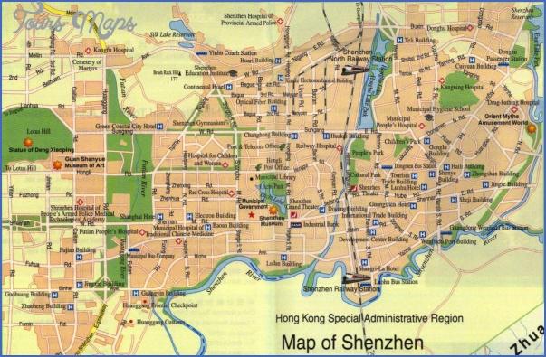 asia shenzhen map map of shenzhen china shenzhen city tourist map SHENZHEN TOURIST MAP