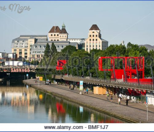 France, Paris, The Canal De L'ourcq In The Parc De La Villette ...