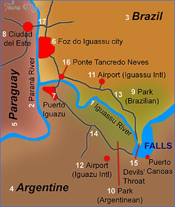 iguacu falls map 2 Iguaçu Falls Map