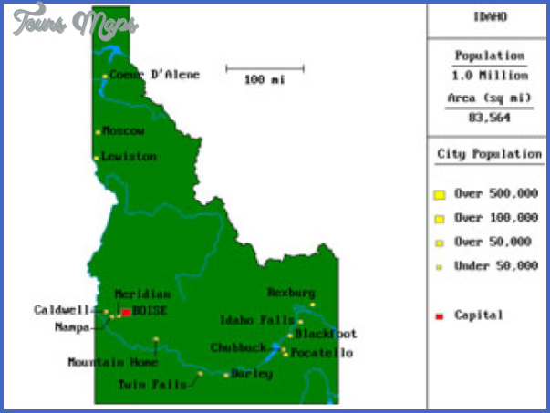 Idaho Map Tourist Attractions ToursMapscom