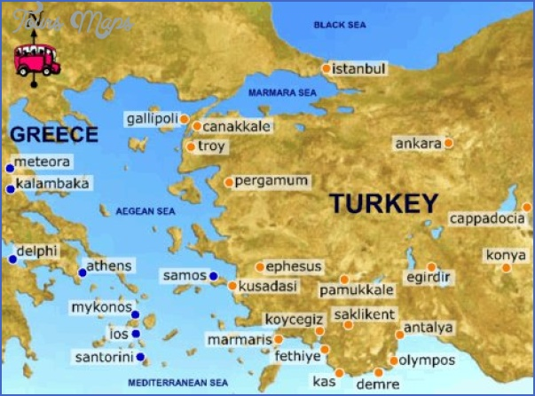map of greece and turkey tourist sites Greece Map For Tourists